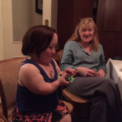 Emma J Hawkins (counting her chocolate stash!) & Julie Forsyth